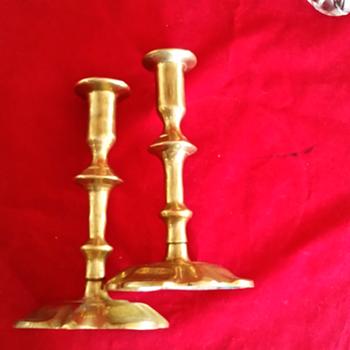 Brass candlesticks sword and key maker's mark - Lamps