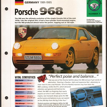 Hot Cars Card - Porsche 968