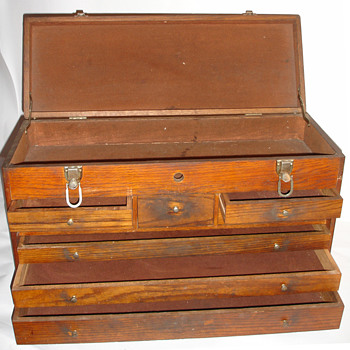 Antique Wooden Carpenter/Machinist Tool Box/Chest - Tools and Hardware