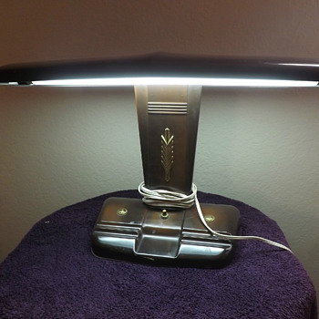 Art Deco Moe Bros Airplane Florescent Desk Lamp, 1938 - 45, Clifford Brook Stevens Designer