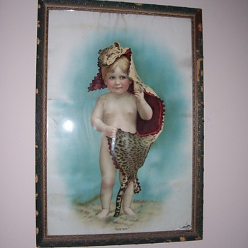 Victorian Painting of a Child with Leopard Skin- Titled &quot;Our Boy&quot;