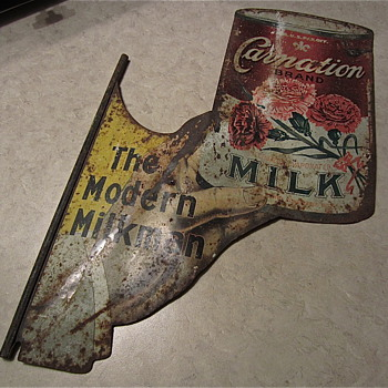 Early Carnation Milk metal sign, 1920s era - Advertising