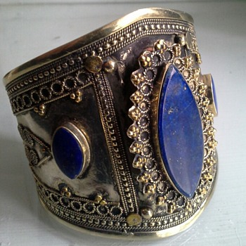 lapis pashtun turkmen tribal wedding bracelet cuff