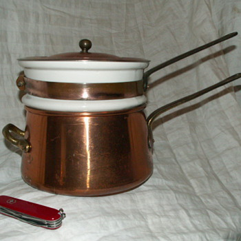 Vintage French Copper Bain Marie (Double-Boiler) w/ Copper Lid - Kitchen