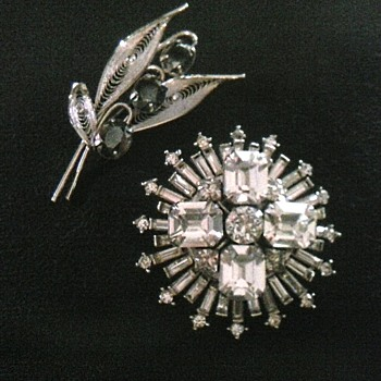 """Sorrento"" Sterling ""Hematite"" Leaf Brooch/""Reinad"" Clear Rhinestone Brooch/Circa 20th Century"