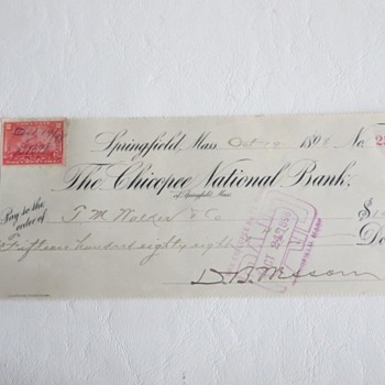 1898 Cancelled Check from D.B. Wesson - Paper
