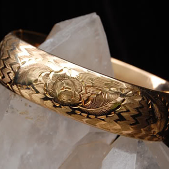 Edwardian GF bracelet, engraved for Ester M. Jaebker