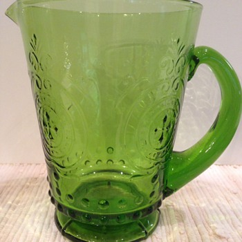 Green Glass Pitcher - Glassware