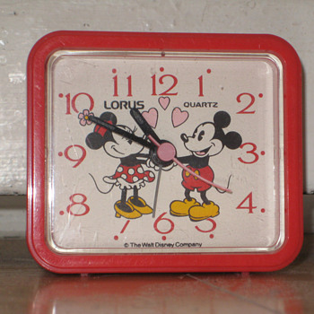 "Late 70's-80's vintage Walt Disney Company ""MICKEY AND MINNIE"" alarm clock."