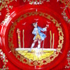 A ruby Moser Salviati Plate, hand painted
