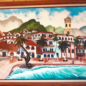 60's or early 70's Puerta Vallarta folk art painting  Who is Artist?