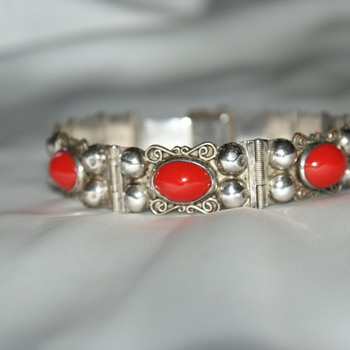 Sterling Bracelet with Glass Cabochons - Mexico - Fine Jewelry