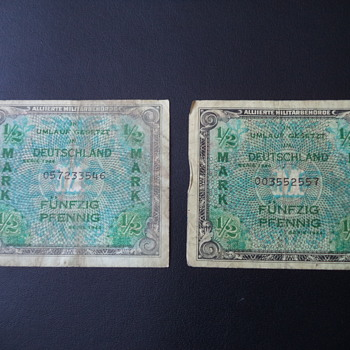 GERMANY Allied Military Currency 1/2 Mark 1944 WW II