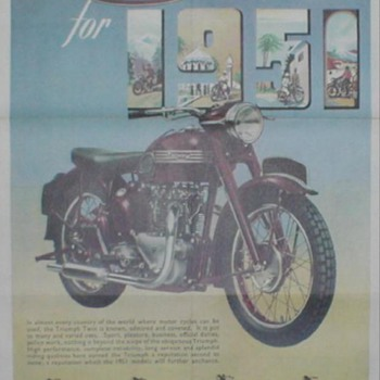1951 Triumph Motorcycle Poster - Advertising