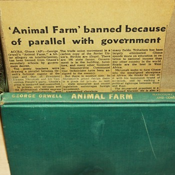 Animal Farm first edition and article of its banning in Ghana