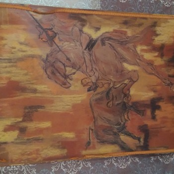 HELP! Unsigned Bullfighter charcoal oil on board w/ reverse image