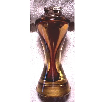 "7"" Amber Art Glass Table Lighter/Hollow Hour Glass Shape /Circa Mid Century - Tobacciana"