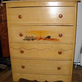1930's Monterey Style Spanish Revival Chest Mexican Siesta Painting FREE Street Find!