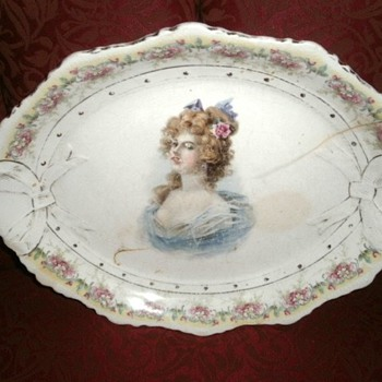 Large Platter with beautiful Victorian Lady - China and Dinnerware