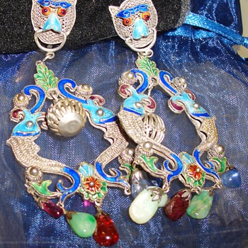 Gorgeous Chinese? Japanese Dragon  Koi Dangling Silver Enameled Earrings with Gems - Fine Jewelry