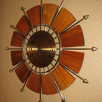 Mid Century Modern Teak Forestville Sunburst Wall Clock - Mid Century Modern