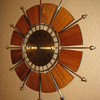 Mid Century Modern Teak Forestville Sunburst Wall Clock