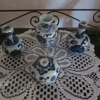 Chinese Blue White Kangxi ??? Period Leaf Markings Snuff Bottles