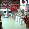 Coca Cola stuff in my kitchen. Our very own diner in our home. The island is made from a 6ft Westinghouse Coca Cola cooler