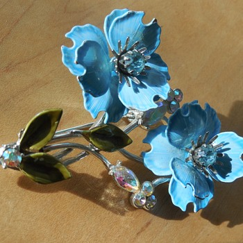 Coro Blue Flowers & Rhinestone Brooch