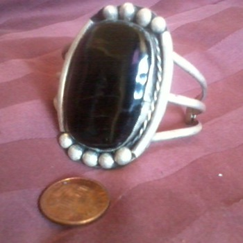 American Indian Bracelet, Obsidien and Silver, age unknown, tribe unknown  - Native American