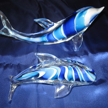 Veni Signed Twisted Blues Dolphin Pair - Art Glass