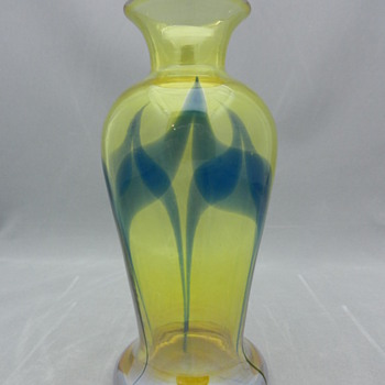DURAND DECORATED YELLOW LUSTRE VASE - Art Glass