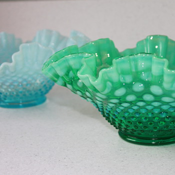 Ruffled Opalescent Hobnail Bowls? - Art Glass