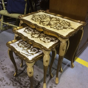 Italian Gold Leaf Coffee Table and Nesting Table Set - Furniture