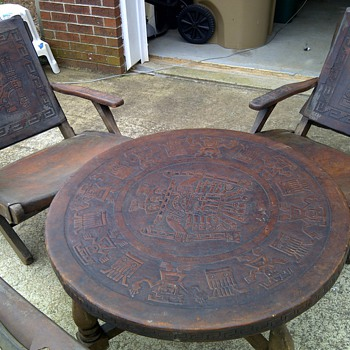 Incan Gods hand carved leather table with folding chairs.