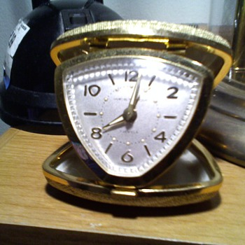 neat west german 7 jewel wesclox travel alarm clock - Clocks