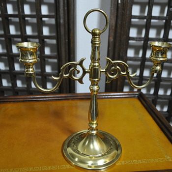 Brass candle holder with unique mark under the base