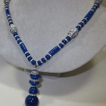 1920s-30s Art Deco Blue Imitation Lapis Glass Czech Necklace