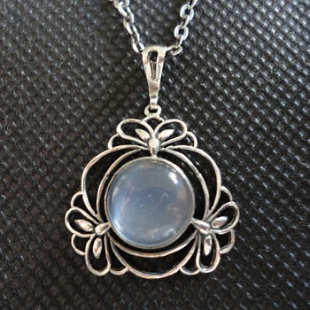 Liberty & Co Silver and Moonstone Necklace by William Hair Haseler