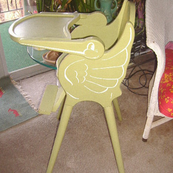 VINTAGE WOOD STORK HIGH CHAIR