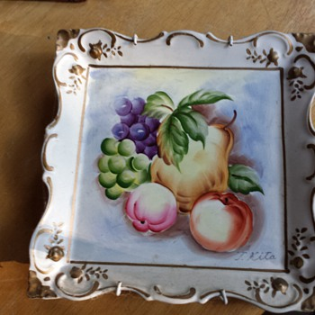 square decorative fruit art plate signed