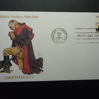 WASHINGTON PRAYING AT VALLEY FORGE CHRISTMAS 1977 - Christmas