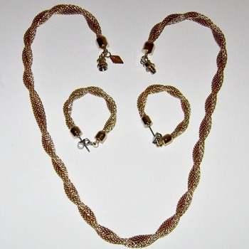 Sarah Coventry Necklace and Earrings - Golden Braids