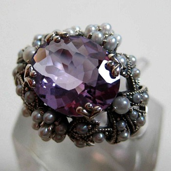 Fantastic Silver pearl Amethyst ring - Fine Jewelry