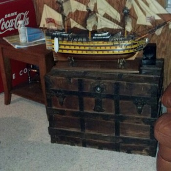 Antique Steamer Trunks With Model Ships