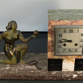 Fritz Marti Movement French Marble Art Deco Figural 8 Day Clock , 1920-25 - Art Deco