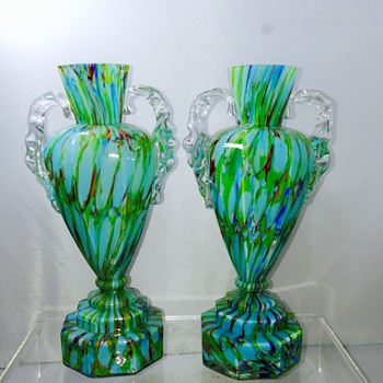 Welz Blue Cased Green Honeycomb Trophy Pair Vases - Art Glass