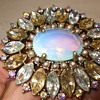 Large Costume Brooch with Aurora Borealis Crystals & Moonstone-Has NR Mark?