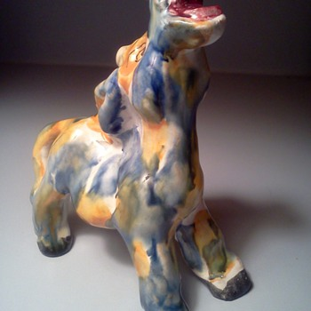 Colorful Italian Ceramic Donkey  - Art Pottery