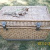 Vintage Wicker Trunk . Age unknown and something for protection !